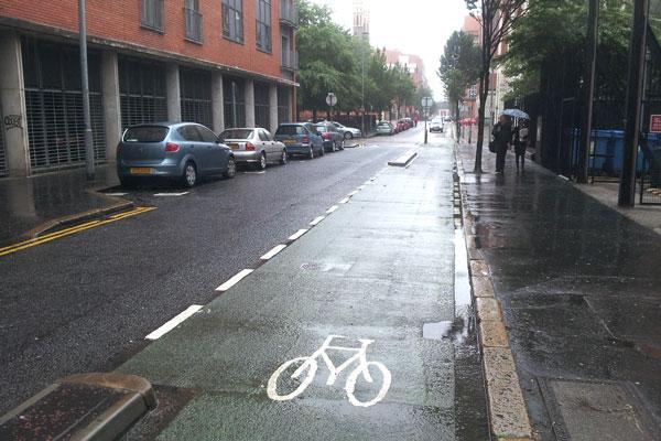 Alfred Street cycle lane in Belfast