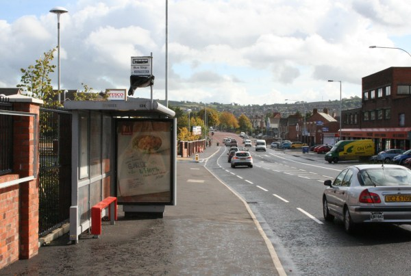 Bus stop outside Castlereagh Road Tesco