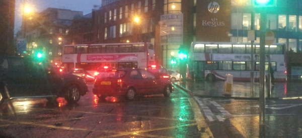 Buses from East Bridge Street blocking Cromac Square in the evening rush hour