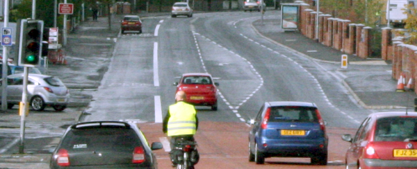 Typical citybound bus lane and countrybound cycle lane set up