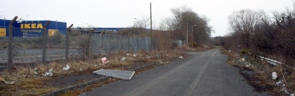 Holywood Exchange abandoned access road behind IKEA