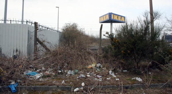 IKEA sign at the George Best Belfast City Airport boundary fence