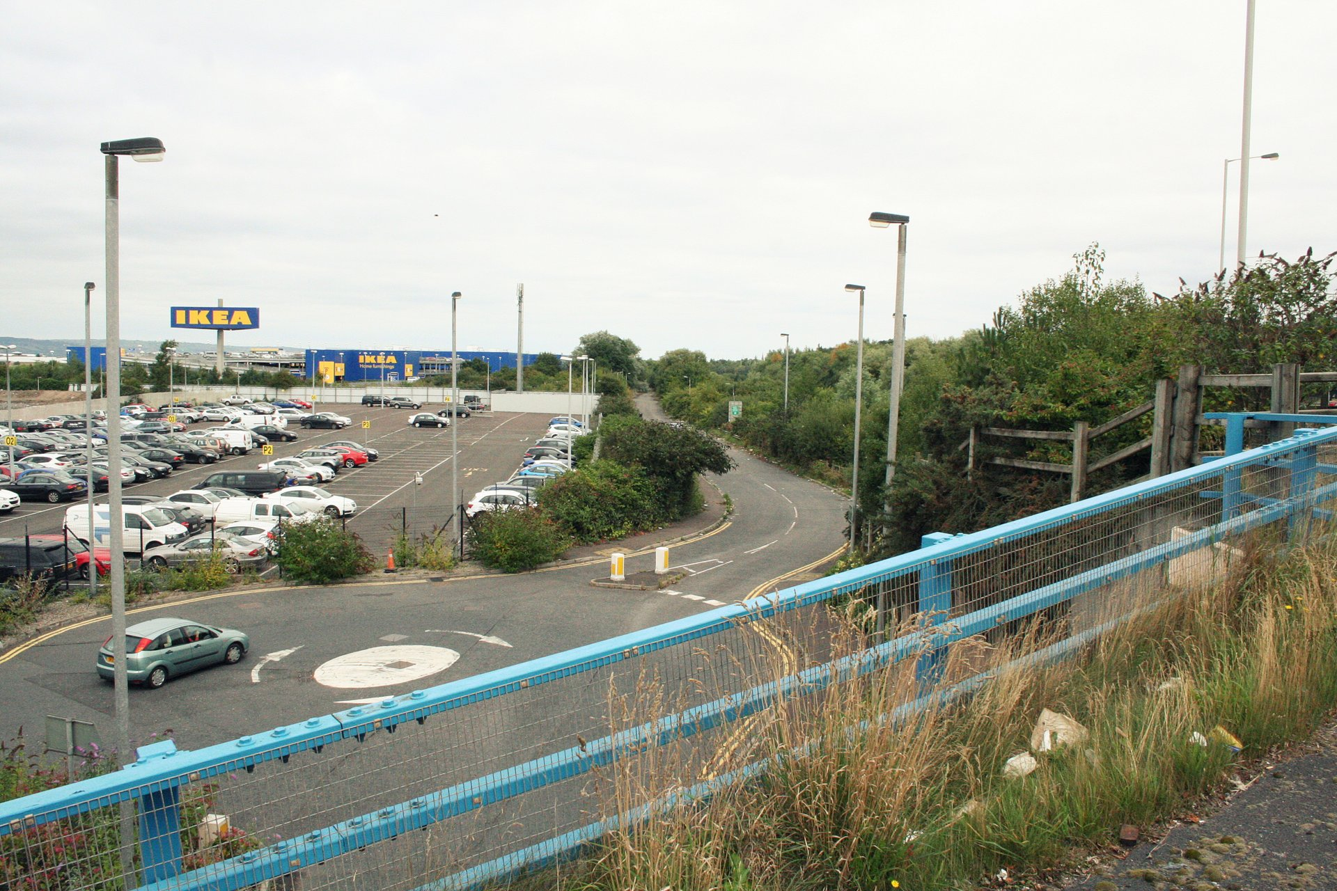 View from A2 down onto the Holywood Exchange access road