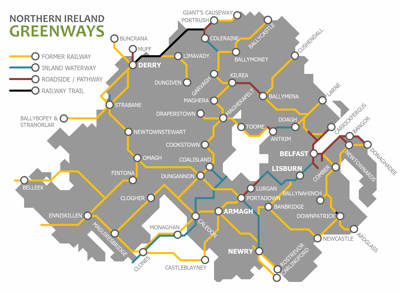 Full Map Of Ireland.About Northern Ireland Greenways