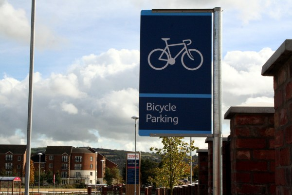 Bicycle Parking sign at Tesco Castlereagh Road
